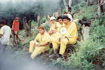 "Edgar Johny"" Ramos pictured right on Volcano Chinchontepeq search and rescue of Aviateca Air Crash 1996."